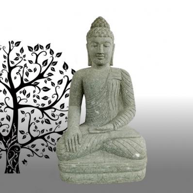 Statue Bouddha Bhûmisparsha-mudrã en pierre 100 cm