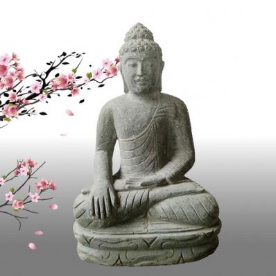Statue Bouddha Bhûmisparsha-mudrã en pierre 50 cm