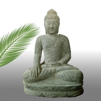 Statue Bouddha Bhûmisparsha-mudrã en pierre 62 cm