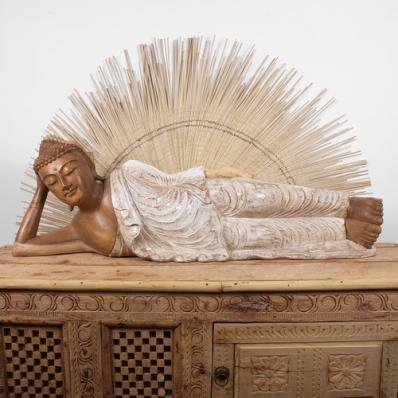 Statue Bouddha couché en bois de suar 104 cm
