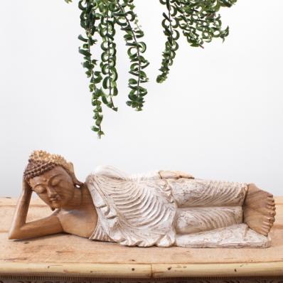Statue Bouddha couché en bois de suar 52 cm