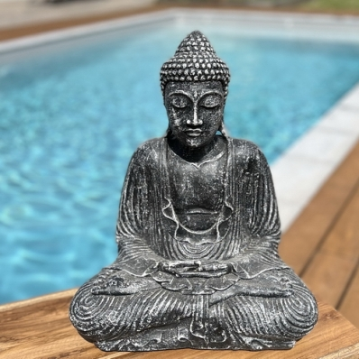 Statue Bouddha Dhyana mudra 42 cm gris