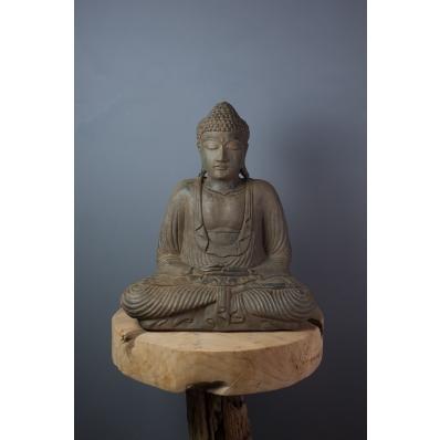 Statue Bouddha Dhyana mudra 42 cm marron