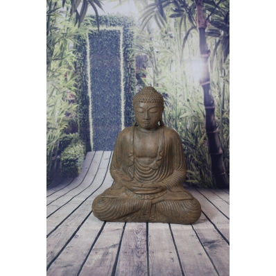 Statue Bouddha Dhyana mudra 55 cm marron antique