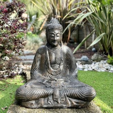 Statue Bouddha Dhyana mudra 62 cm gris