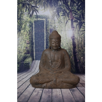 Statue Bouddha Dhyana mudra 62 cm marron antique