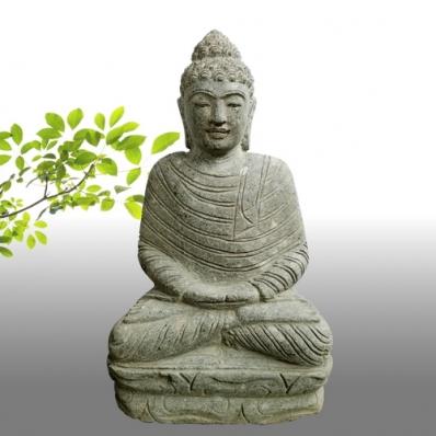Statue Bouddha dhyãna mudrã en pierre 50 cm