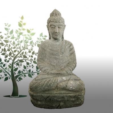 Statue Bouddha dhyãna mudrã en pierre 60 cm