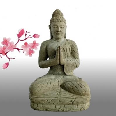 Statue Bouddha dhyãna mudrã en pierre 80 cm
