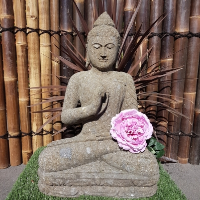 Statue Bouddha dhyãna mudrã en pierre 82 cm