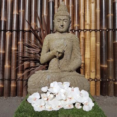 Statue Bouddha dhyãna mudrã en pierre 93 cm