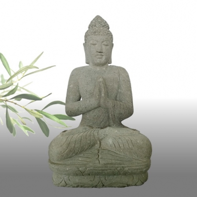 Statue Bouddha mudrã Anjali en pierre 100 cm