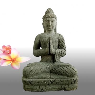 Statue Bouddha mudrã Anjali en pierre 50 cm
