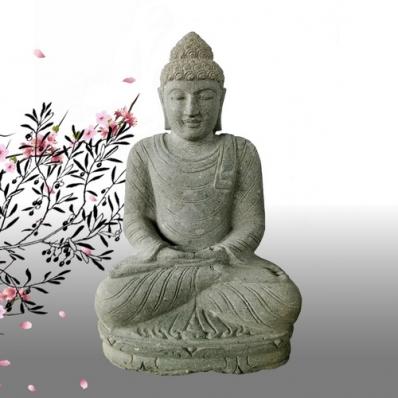 Statue Bouddha mudrã Anjali en pierre 80 cm