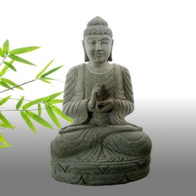 Statue Bouddha mudrã dharmachakra en pierre 105 cm