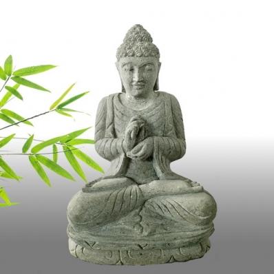 Statue Bouddha mudrã dharmachakra en pierre 50 cm