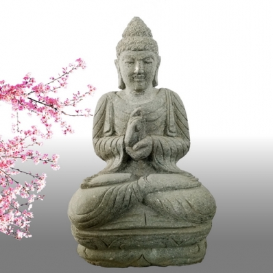 Statue Bouddha mudrã dharmachakra en pierre 52 cm