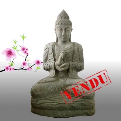 Statue Bouddha mudrã dharmachakra en pierre 77 cm