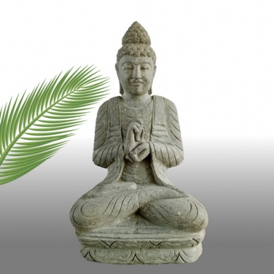 Statue Bouddha mudrã dharmachakra en pierre 84 cm