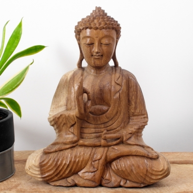 Statue Bouddha mudra Vitarka 30 cm Naturel