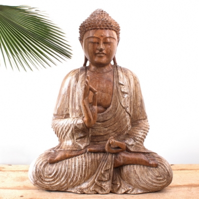 Statue Bouddha mudra Vitarka 60 cm Blanchi