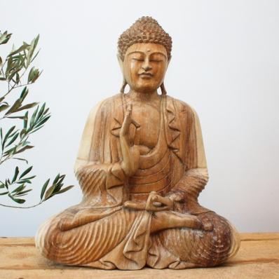 Statue Bouddha mudra Vitarka 60 cm Naturel
