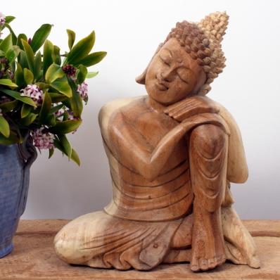 Statue Bouddha penseur en suar 30 cm