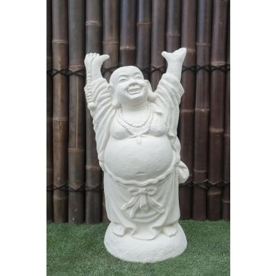 Statue Bouddha rieur debout 100 cm Blanc