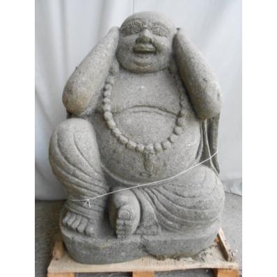d co jardin statue bouddha rieur en pierre de lave 80 cm. Black Bedroom Furniture Sets. Home Design Ideas
