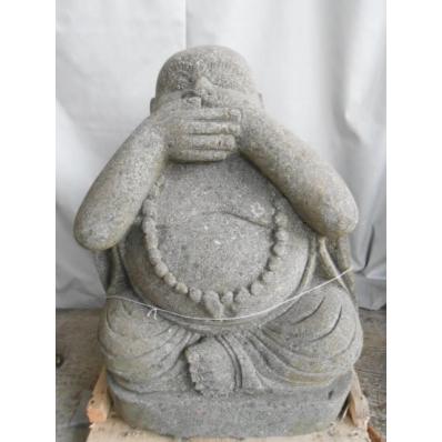 Statue Bouddha rieur en pierre de lave 60 cm