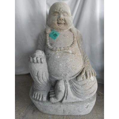 Statue Bouddha rieur en pierre de lave 80 cm