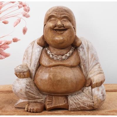 Statue Bouddha rieur en suar 25 cm blanchi
