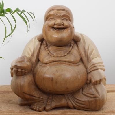 Statue Bouddha rieur en suar 25 cm naturel