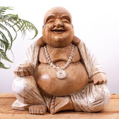 Statue Bouddha rieur en suar 40 cm blanchi