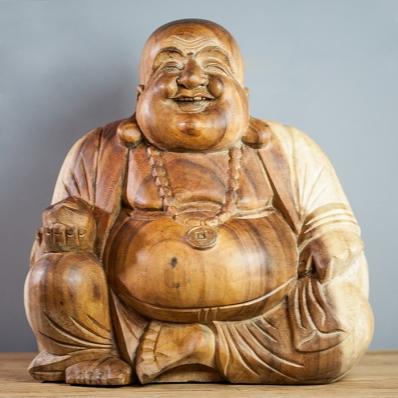 Statue Bouddha rieur en suar 40 cm naturel