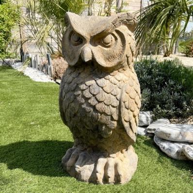 Statue chouette 80 cm marron
