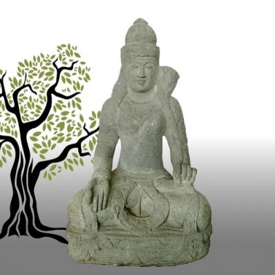 Statue déesse Tara en pierre de lave 100 cm