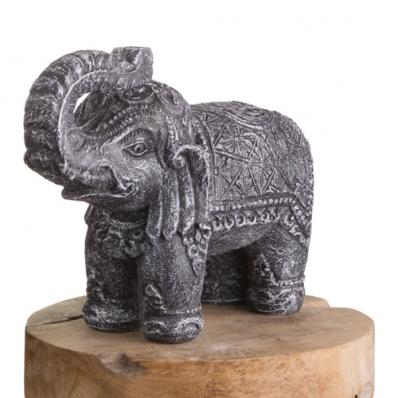 Statue éléphant 30 cm gris