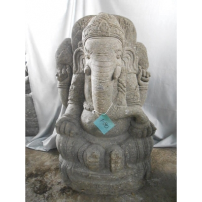 Statue Ganesh en pierre volcanique 80 cm
