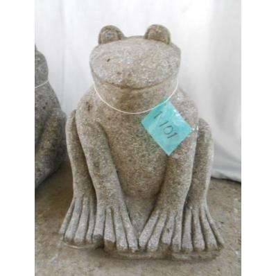 Statue grenouille en pierre de lave H. 30 cm