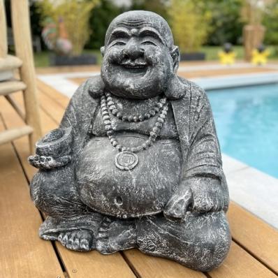 Statue Happy Bouddha 60 cm gris