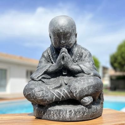Statue moine Shaolin 50 cm gris