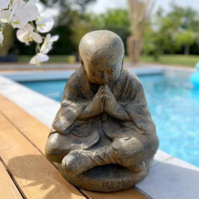 Statue moine Shaolin 50 cm marron antique