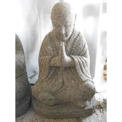 Statue moine Shaolin en pierre de lave 60 cm