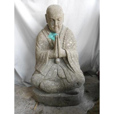 Statue moine Shaolin en pierre de lave 80 cm