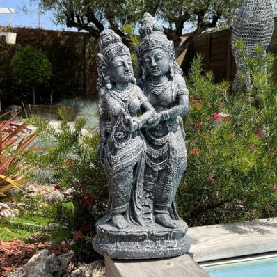 Statue Rama et Sita 60 cm gris