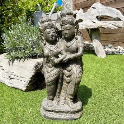Statue Rama et Sita en ciment 60 cm marron antique