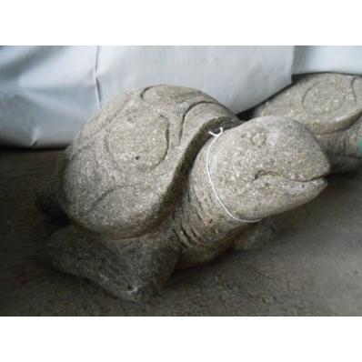 Statue tortue de mer exotique en pierre H. 20 cm