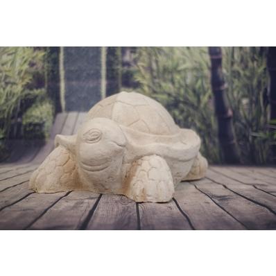 Statue tortue pied de parasol en ciment blanc