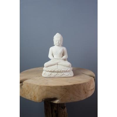 Statuette Bouddha Dhyana mudra 20 cm en ciment blanc